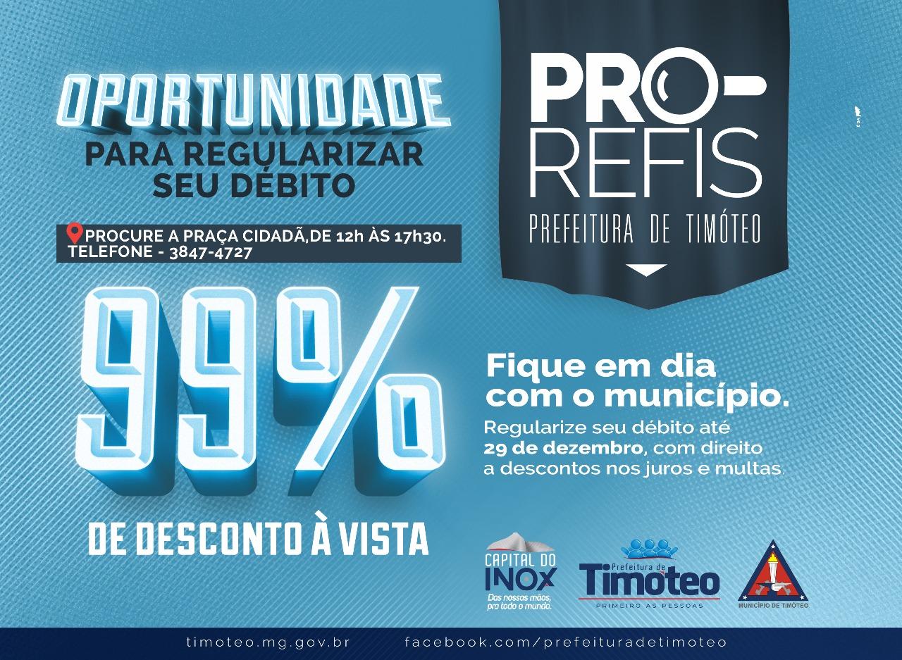 PRO-REFIS - 99% DE DESCONTO À VISTA